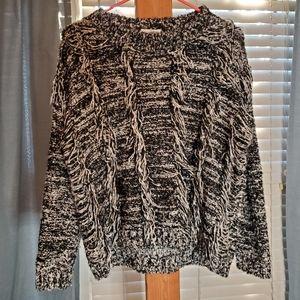 Thick Knit Fringe Fisherman's Sweater